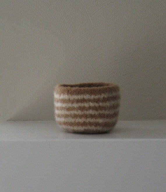 Felted Bowl in Camel and Natural Stripes - In Stock - Ready to Ship