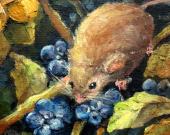 mouse berries painting Treasury Item  harvest mouse in blueberries ooak hp original canvas painting