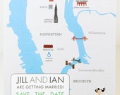 Custom save the date map, wedding invitation, itinerary card digitally illustrated - Digital File or Printed