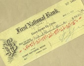Old Bank Check from First National Bank in Colorado