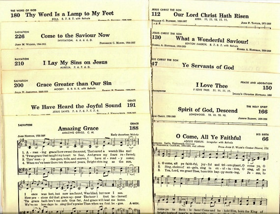 Religious Music Pages from Baptist Hymnal for Paper Arts, Collage, Scrapbooking, Cards, Assemblage and MORE