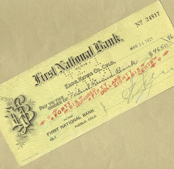 Old Bank Check From First National Bank In By PaperSymphony