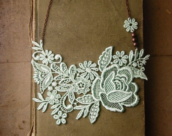 lace necklace - MINTHE - wedding necklace - bridesmaid- bridal necklace- mint necklace-  handmade by White Owl