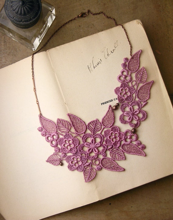 lace necklace celia lilac wedding necklace by whiteowl on etsy