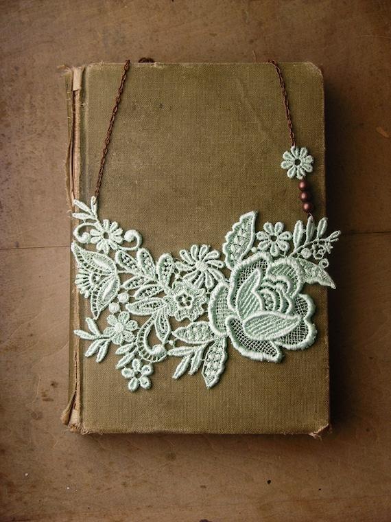 lace necklace - MINTHE - wedding necklace - bridesmaid- bridal necklace- mint necklace-  handmade by White Owl