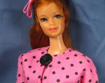 Barbie Clothes - Pink and Black Dotted Mod Suit