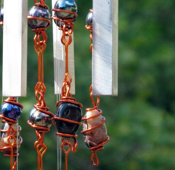 Sardonyx (August Birthstone) Windchime with Recycled Aluminum and Copper Wire Wrapped Iridescent Black Glass Marble Prisms