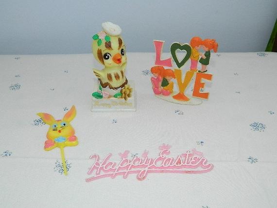 Vintage Cake Decorations-Easter- Love-Happy Birthday