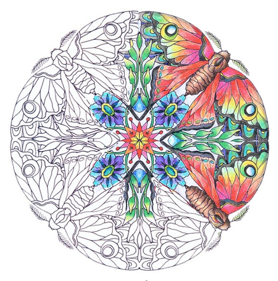 Mandalas- Transformation Themed Set of Coloring Pages for Adults