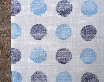 4 yards vintage fabric - 60s sketchbook polka dots - blue and white