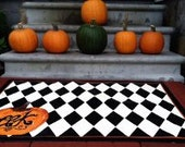 EEK Its Halloween Handpainted Floorcloth Pumpkin Harlequin Liz Stevens Spooky Fall Rug Laura Ashley Pumpkin paint