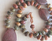Rustic copper necklace, Red Creek Jasper and Muscovite necklace with copper, bold, statement necklace