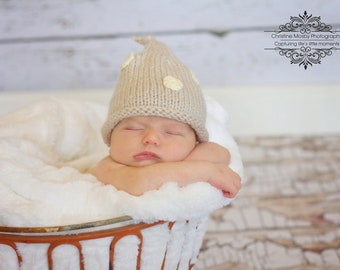 Newborn Infant Baby Hat, Linen and White Polka Dot Stocking Pixie  Cap, the Perfect Little Infant Photo Prop, Pixie