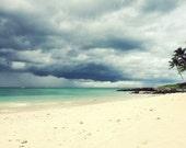 Beach wall art / tropical decor / slate blue storm clouds / Maui Hawaii ocean seascape / seashore  'Distant Storm'