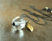 Crystal Quartz Necklace Mixed Metal  Jewelry Clear Necklace Gemstone Jewelry Gold Silver Oxidized  Silver Leaf Charm Two Tone Clear Pendant
