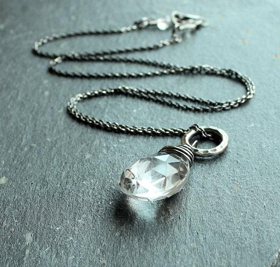 Clear Quartz Necklace  -  Sterling Silver - Gemstone Jewelry -  Handmade  Necklace  -  Quartz Jewelry