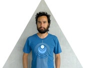 Mens tshirt - organic cotton - blue and turquoise - LARGE - geometric peacock feather print on American Apparel - TAIL FEATHER