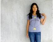 SALE - The Headhunter - womens t shirt - neon yellow bow and arrow screenprint on heather gray track tees - SMALL - womens fashion