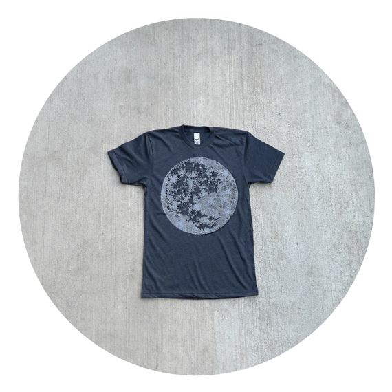 Tshirt for men - S/M/L/XL - full moon screenprint on American Apparel heather black t shirts - My Moon, My Man