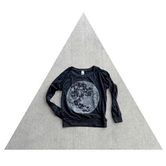 Womens pullover - S/M/L/XL - moon screenprint on Alternative Apparel eco-black lightweight raglans - fall fashion for women