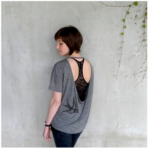 One That Got Away - womens fashion - open back tshirt - SMALL - birdcage print on Alternative Apparel ash gray pony tees