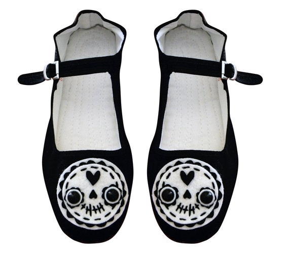 Day of the Dead Sugar Skull Mary Jane Shoes - (Sizes 5,6, 7, 8, 9, 10 and 11)