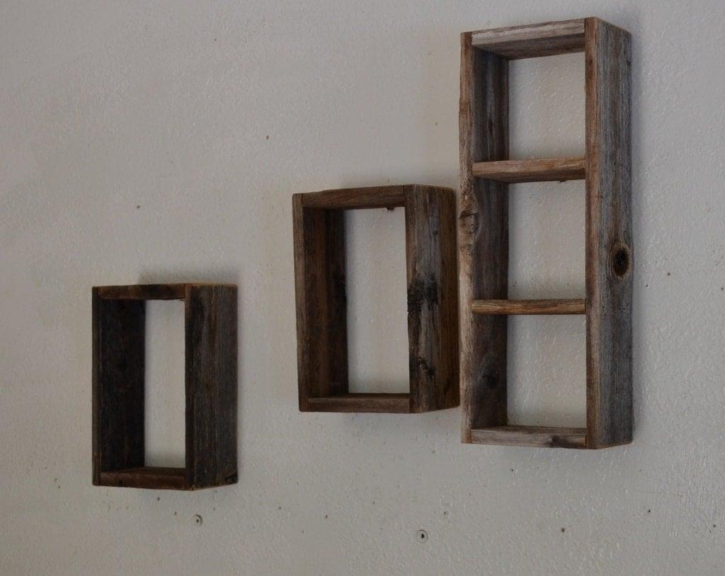 shadow box wall shelf set salvaged barn wood. Black Bedroom Furniture Sets. Home Design Ideas