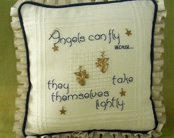 Angels Can Fly Embroidered Mini Pillow