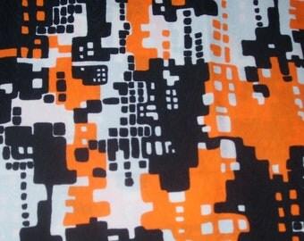 Halloween Vintage Fabric Colors Retro scenes appear to be Puzzle Buildings Choo Choo Trains Spilke's Screen Print