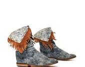 size 6.5 FRINGE tan leather DENIM acid wash MOCCASIN ankle booties