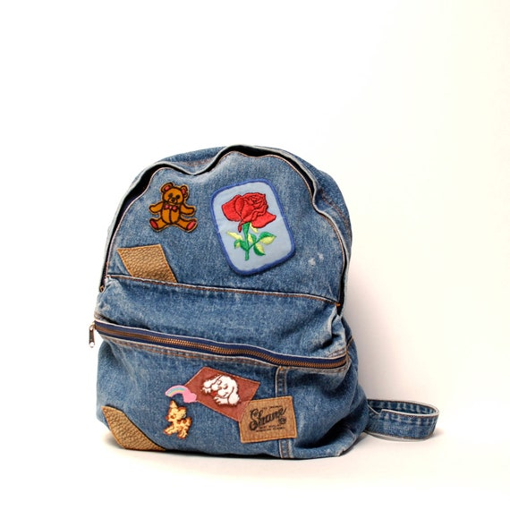 DENIM blue jean 80s BACKPACK large unisex PATCHES