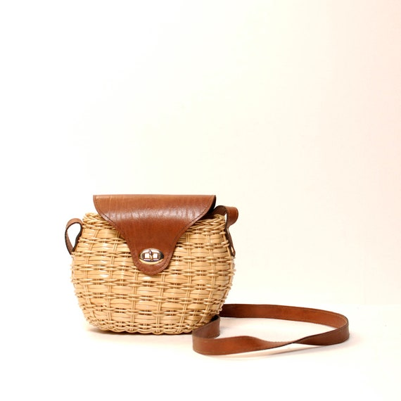 PICNIC tan basket 60s 70s SHOULDER BAG
