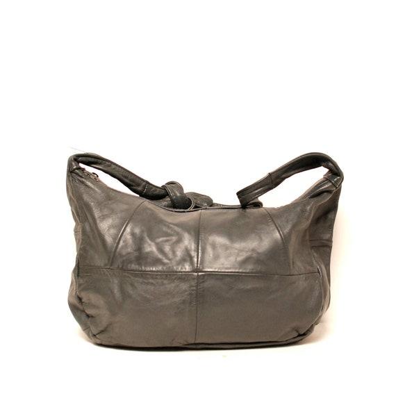 SLOUCHY concrete gray leather 80s BOHEMIAN hobo purse