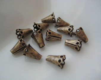 Flared brass cone bead caps 6x5mm (12)