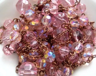 ONLY LOT - Vintage beaded chain - varied faceted AB pink beads - 9 feet