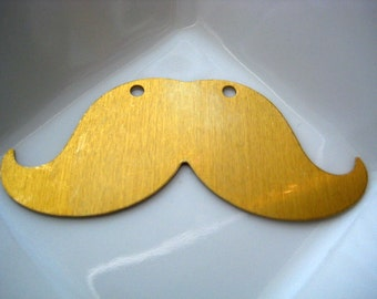 Raw brass mustache stamping . 57mm