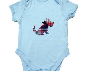 Scottie Dog Babygro  / Baby Shirt / Bodysuit / New Baby / personalized All in One / Personalised Romper - Blue, Pink, White