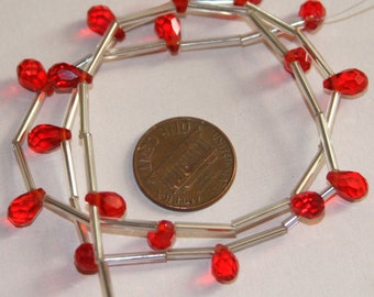 18 pcs of Ruby Red glass faceted briolette beads 5x7mm