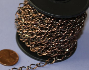 5 ft of Antiqued Copper Chain high quality hammered soldered 5X8mm links