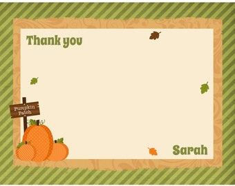 20 Personalized Pumpkin Patch Thank You Cards