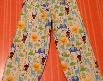 SALE .... JUNGLE ABC flannel pajama/Lounge pants Size 0-3 months to 16.  Adult sizes available to 3X
