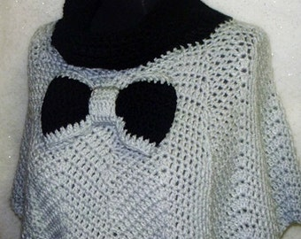 Hand crocheted Cowl-neck Capelet Poncho Chevron Ripple stitched with Bow-Tie Accessory