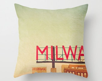 Pillow Cover, MPM, Milwaukee Public Market, Home Decor, 16x16, 18x18, 20x20