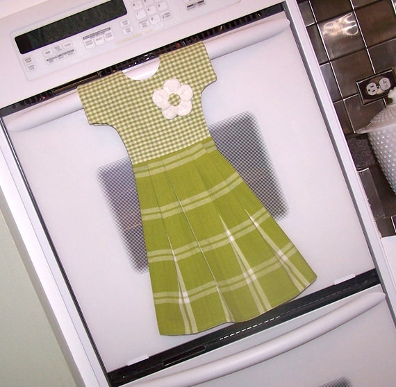 Dish Towel Oven Door Dress in Green and White