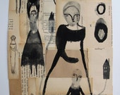 SALE in my mind before she spoke - an original mixed media collage - drawings