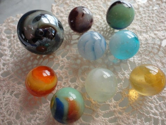 9 Vintage Marbles Lot No.33 Mixted Lot