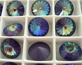 6 Ultra Purple AB Swarovski  Rivoli Stone 1122 12mm