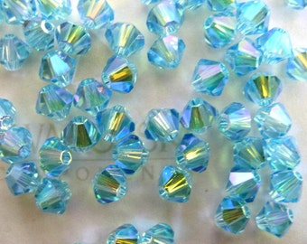 24 Aquamarine AB2X Swarovski Crystal Beads Bicone 5328 4mm