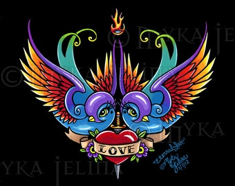 Eternal Love Swallow Tattoo Love Birds 8x10 Signed PRINT