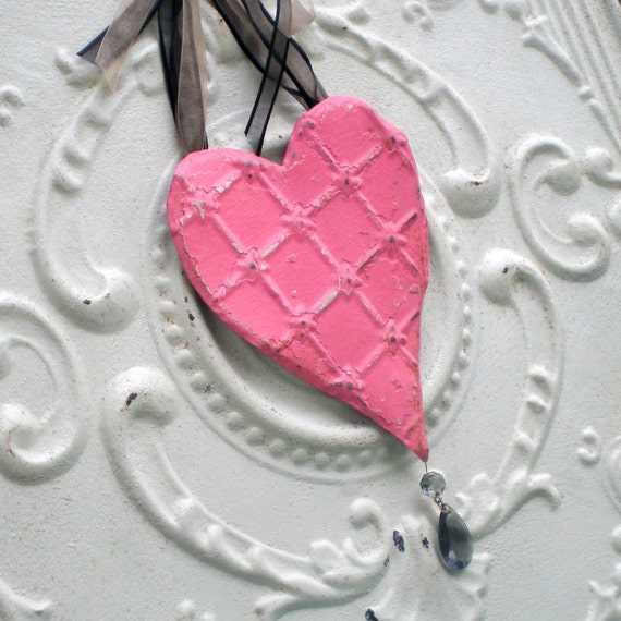 Pink Heart Vintage Decoration Romantic Cottage Ceiling Tin Black Crystal